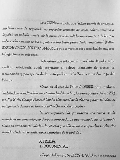 Facsímil de la presentación de los 16 gobernadores contra las medidas económicas anunciadas por Macri tras su derrota en las PASO