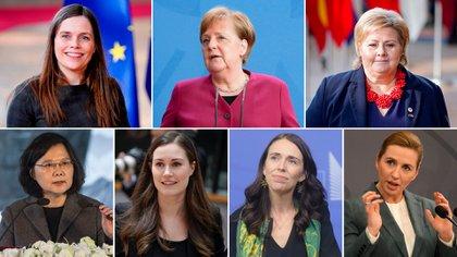 Katrín Jakobsdóttir, Angela Merkel, Erna Solberg, Tsai Ing-wen, Sanna Marin, Jacinta Ardent y Mette Frederiksen