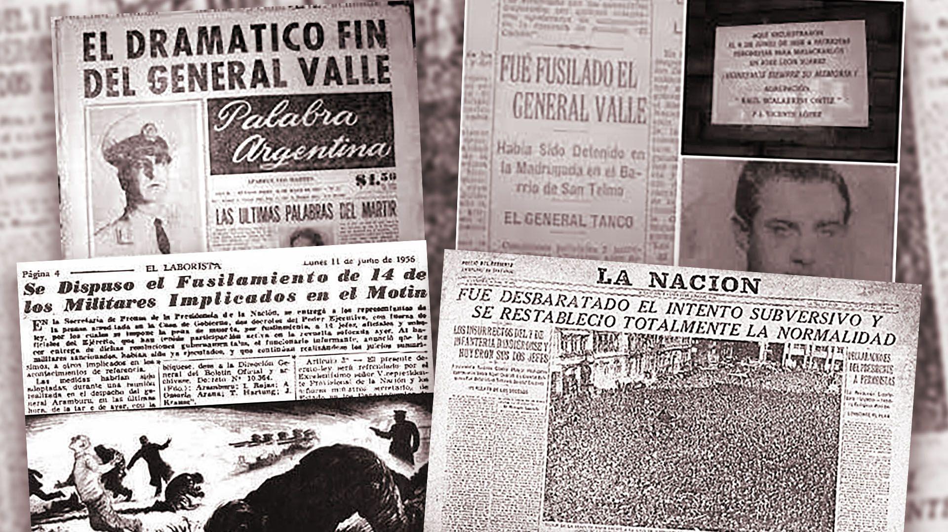 Los titulares de los diarios luego del levantamiento