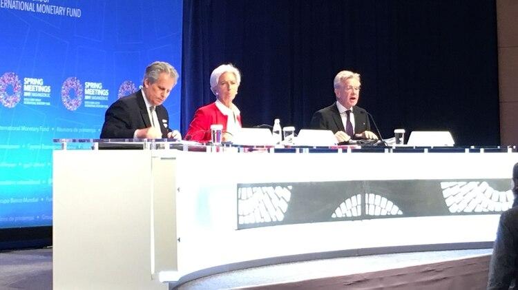 Lipton, Lagarde y Rice esta mañana en la conferencia de prensa