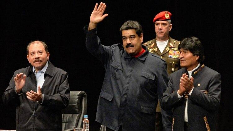 Daniel Ortega, Nicolás Maduro y Evo Morales