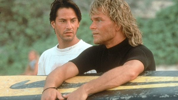"Keanu Reeves con Patrick Swayze en ""Point Break"" (1991)"