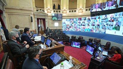 La mayoría de los legisladores siguieron la sesión en forma remota  (Foto: Charly Diaz Azcue / Comunicación Senado)