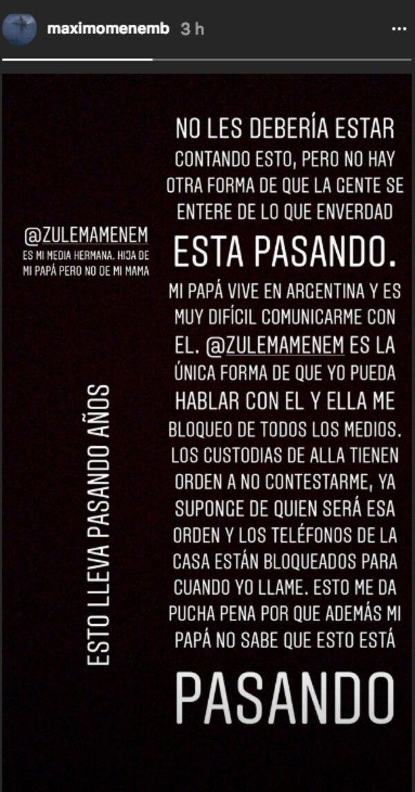 El descargo de Máximo Menem Bolocco en su cuenta de Instagram