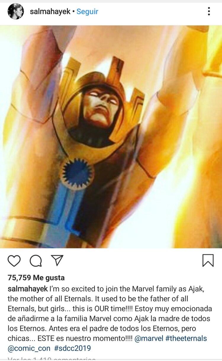 El mensaje con el que Salma celebró su ingreso a la familia Marvel