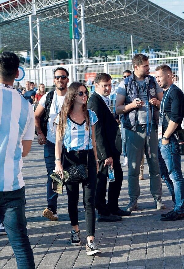 Lucía Celasco llegando al estadio