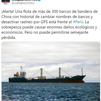 Tweet de la Embajada de EEUU en Perú ante la presencia de pesqueros en las costas del país sudamericano