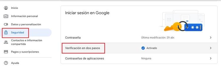 Cómo activar el segundo factor de auntenticación en Gmail