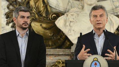 Macri y Peña en el Salón Blanco. (FOTO NA)