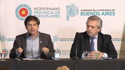 El presidente Alberto Fernández y Axel Kicillof. Volverán a compartir un acto