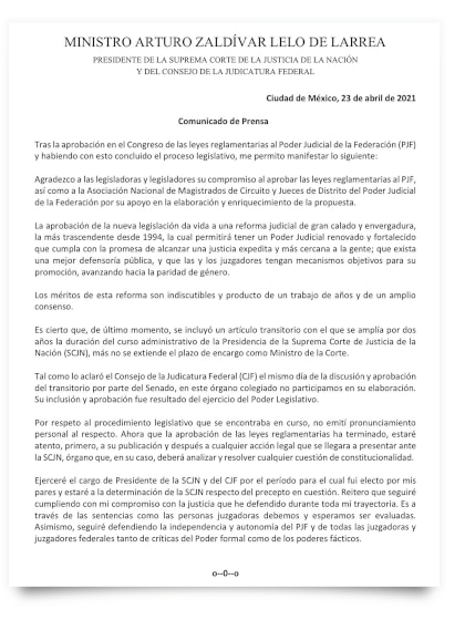 El posicionamiento de Arturo Zaldívar dado a conocer este viernes (Foto: Twitter/ArturoZaldivarL)