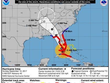 Pronóstico del Huracán Irma. Boletín del NHC de las 05 am – domingo 10 de septiembre