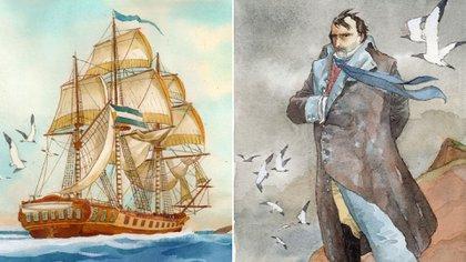 Bouchard llegó a albergar el audaz proyecto de rescatar a Napoleón, confinado en la isla de Santa Elena, en pleno Océano Atlántico (Enrique Breccia)