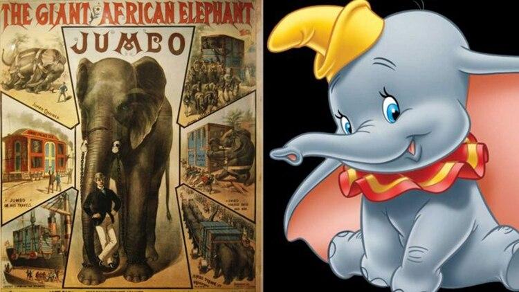 Los afiches que PT Barnum regó en los Estados Unidos y Dumbo, la versión de Walt Disney.