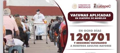 En los primeros ocho días de la aplicación se han inmunizado a 120,701 personasFoto: (Facebook Fernando Vilchis)