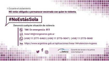"""La Defensoría General de la Nación lanzó la campaña """"No estas sola"""" y pidió que se extiendan las medidas de protección a las víctimas de violencia."""