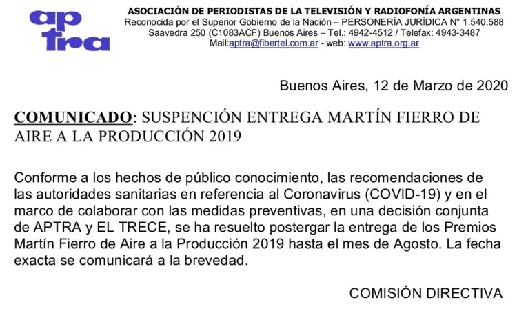 El comunicado que anuncia la postergación de la entrega d elos premios más importante de la televisión argentina