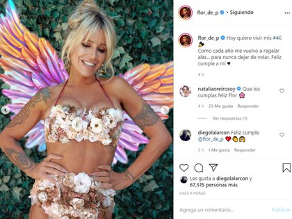 """""""Hoy quiero vivir mis #46 Como cada año me vuelvo a regalar alas... para nunca dejar de volar. Feliz cumple a mí"""", escribió este sábado en su cuenta de Instagram"""