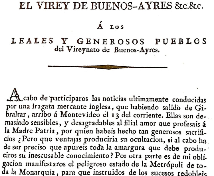 La proclama que Cisneros dio a conocer el día 18 para tratar de calmar los ánimos.