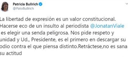 El repudio de Patricia Bullrich al ataque del Presidente a Jonatan Viale