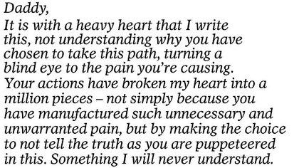 Un extracto de la carta que Meghan Markle envió a su padre Thomas