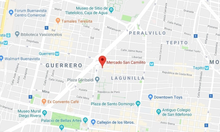 El mercado San Camilito se encuentra en la colonia Centro de la alcaldía Cuauhtémoc en la Ciudad de México (Foto: Google Maps)