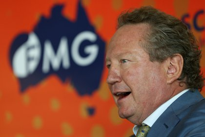 Andrew Forrest, chairman of Fortescue Metals Group Ltd., speaks during a news conference in Perth, Australia, on Friday, Feb. 16, 2018. Fortescue is scheduled to report half-year results on Feb. 21.
