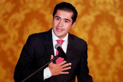 Imagen de archivo del ministro de Economía ecuatoriano, Richard Martínez, durante una conferencia de prensa en Quito, Ecuador (Reuters)