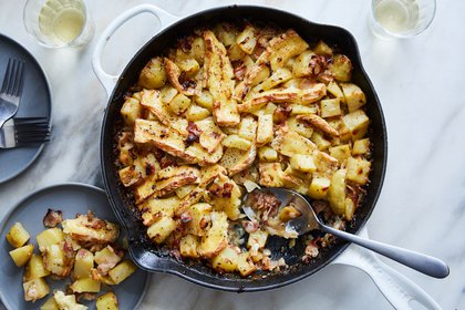 Tartiflette, a traditional Alpine casserole, in New York, Feb. 16, 2021. You can get a taste of the French side of the Alps with this cheesy, golden-topped casserole. Food styled by Monica Pierini. (Linda Xiao/The New York Times)