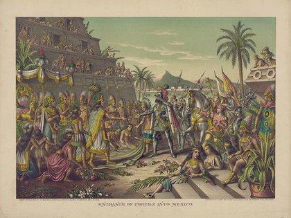 El encuentro entre Hernán Cortés y Moctezuma, según relatos de la época (Foto: Wiki Commons)