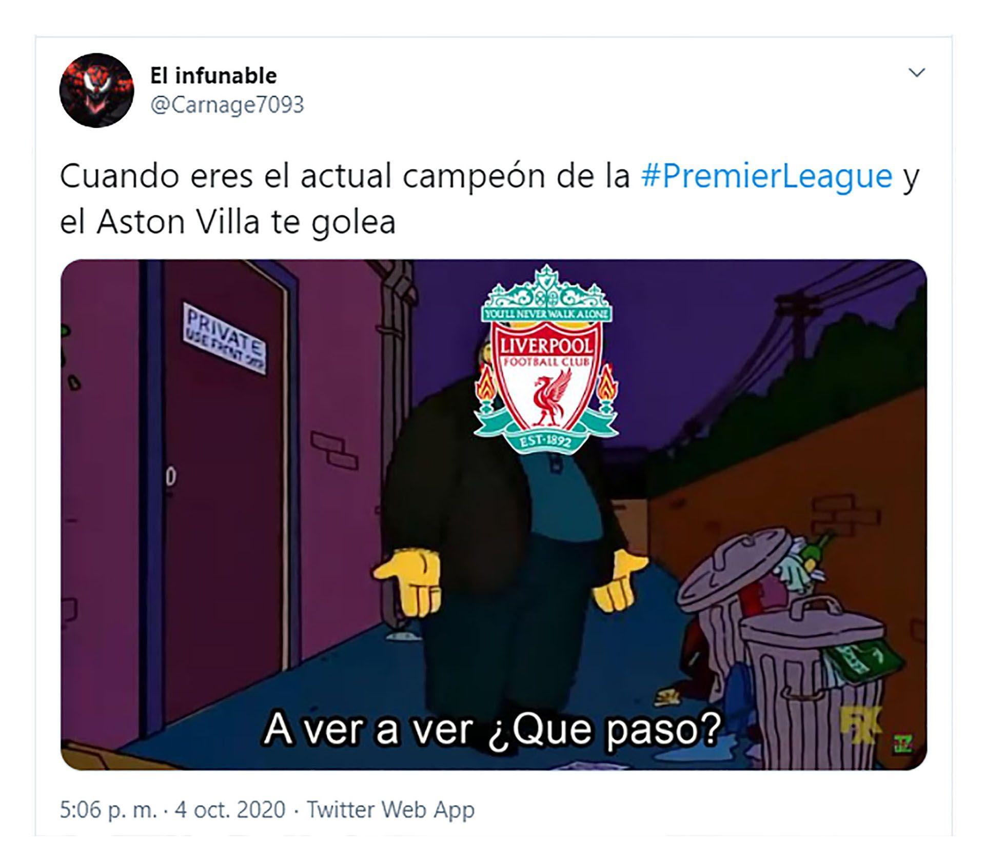 memes de la derrota del Liverpool 7-2 ante el Aston Villa