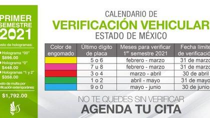 Calendario de verificación vehicular en el Estado de México (Foto: Secretaría de Medio Ambiente Edomex)