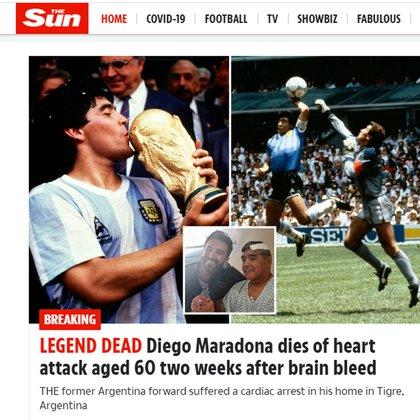 """Murió la leyenda"" The Sun, Reino Unido"