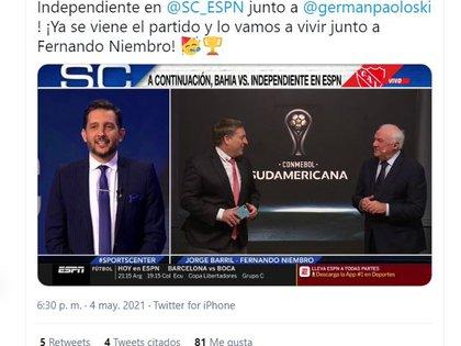 La bienvenida que le dio el relator Jorge Barril en las redes a Fernando Niembro (captura Twitter)