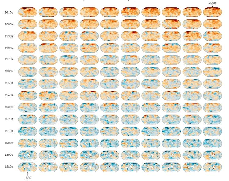 Anomalías de temperaturas en el mundo entre 1880 y 2019