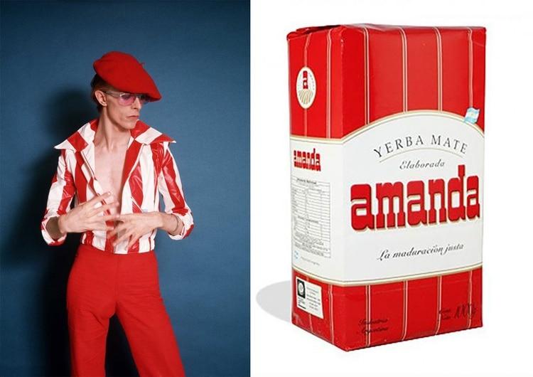 """Boina, gafas, pantalón y chaqueta en rojo y blanco, como la yerba mate """"Amanda"""""""