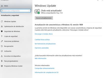 Windows Update está integrado a Windows 10.