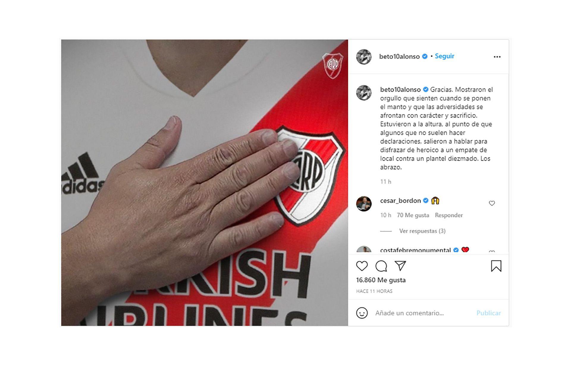 mensaje Beto Alonso superclásico