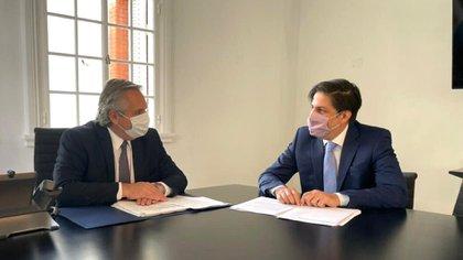 Nicolás Trotta junto al presidente Alberto Fernández