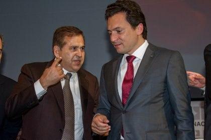 Emilio Lozoya y Alonso Ancira, presidente de la empresa Altos Hornos de México (AHMSA). FOTO: ARCHIVO JUAN PABLO ZAMORA /CUARTOSCURO