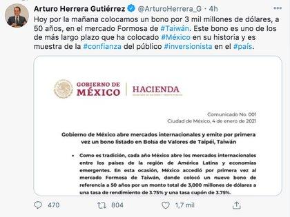 Arturo Herrera, titular de la SHCP, señaló que dicho bono es uno de los de más largo plazo que ha colocado México en su historia (Foto: Twitter)