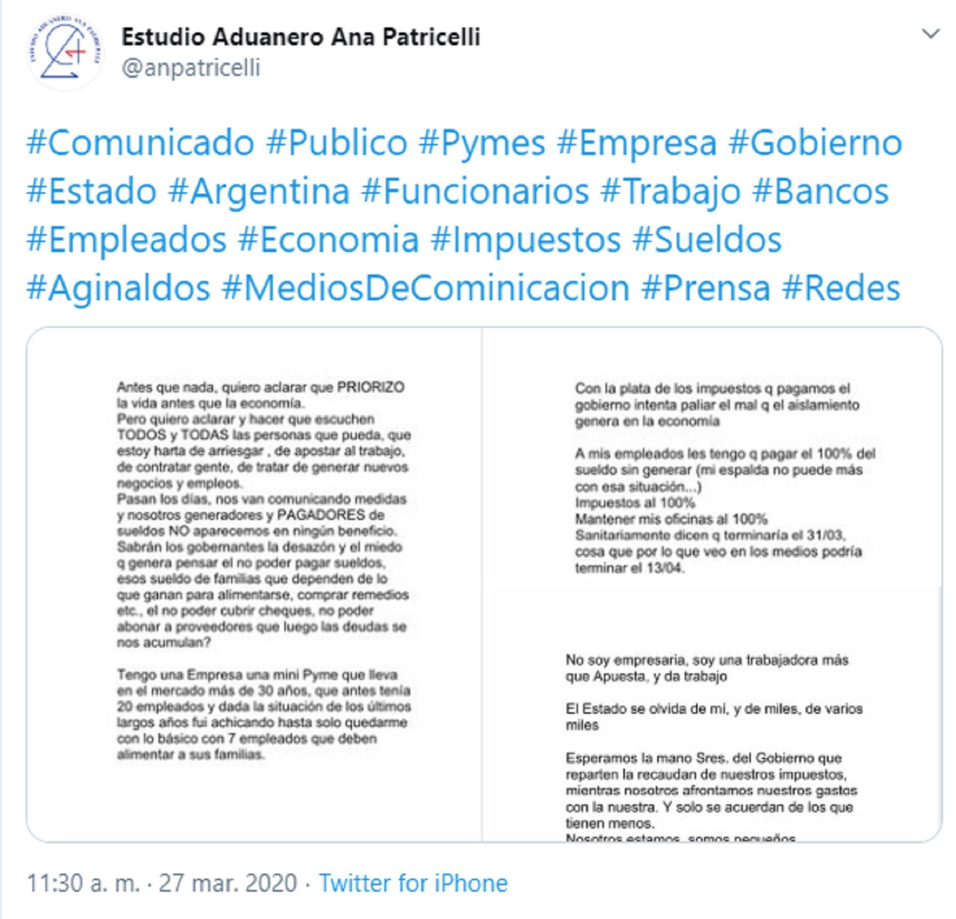 La publicación de Ana María Patricelli