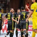 Juventus' German midfielder Sami Khedira (Rear C) celebrates with his teammates scoring the opening goal during the Italian Serie A football match AC Chievo vs Juventus at the Marcantonio-Bentegodi stadium in Verona on August 18, 2018. / AFP PHOTO / Alberto PIZZOLI