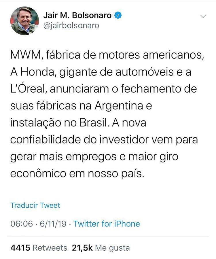 El tuit que borró Bolsonaro