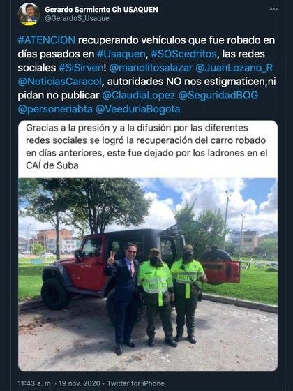 Recuperación de la camioneta robada en Cedritos. Vehículo fue dejado en el CAI de Suba / (Twitter: GerardoS_Usaque).