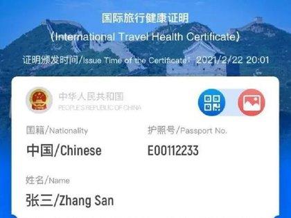 """Pasaporte Covid"" emitido por China a través de una app"