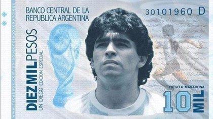La imagen del posible billete en homenaje a Maradona