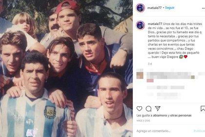 El homenaje de Matías Alé a Diego Maradona (Foto: Instagram)