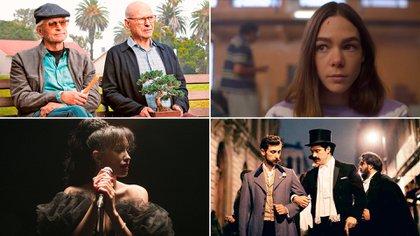 """Arriba - I """"El Método Kominsky""""; Arriba - D """"Quién Mató a Sara""""; Abajo I - Selena: la serie: parte dos; Abajo - D """"El Baile de los 41"""" (Foto: Cortesía de Netflix)"""