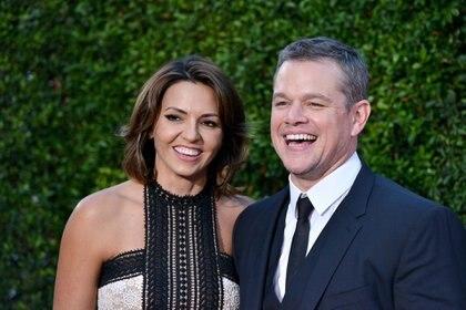 Luciana Barroso y Matt Damon llevan 15 años juntos y su historia de amor parece salida de una película de Hollywood (Foto: Abaca France/The Grosby Group)
